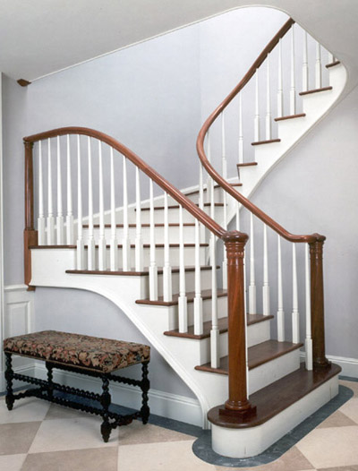 This Graceful Winding Stair With Walnut Treads, Mahogany Rails And Newel  Posts Includes Egg And Dart Carving On The Newels.